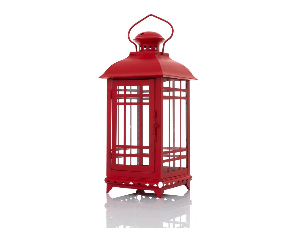 Classical Ferforje Fener 16x16x35,5 Cm Kırmızı