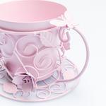 Luxury Roses Ferforje Saksı 20x17x14 Cm Açık Pembe