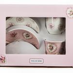 Pink Flowers New Bone 2'li Kahve Fıncan Takımı 90 Ml Beyaz