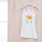 Love Mermaids Pamuklu Kız Çocuk Plaj Elbısesı 6-7 Yaş Beyaz