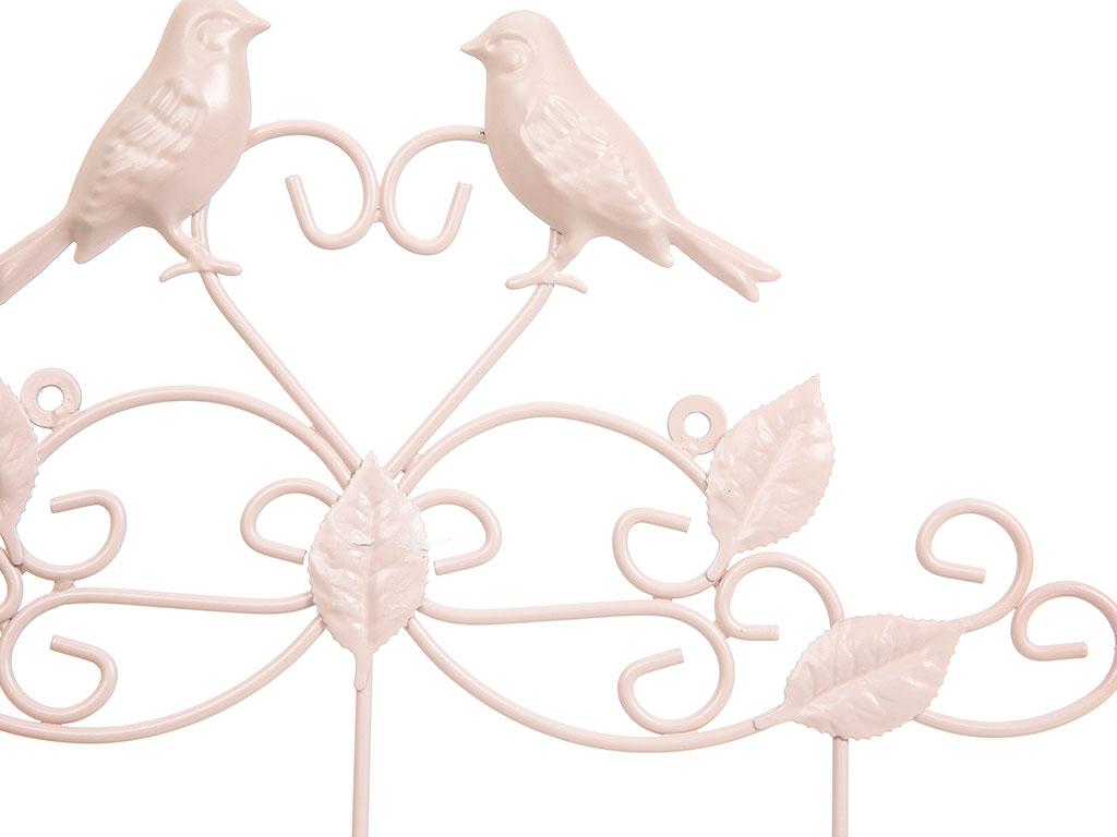 Love Birds Ferforje 3'lü Askı 38x5,5x25,5 Cm Açık Pembe
