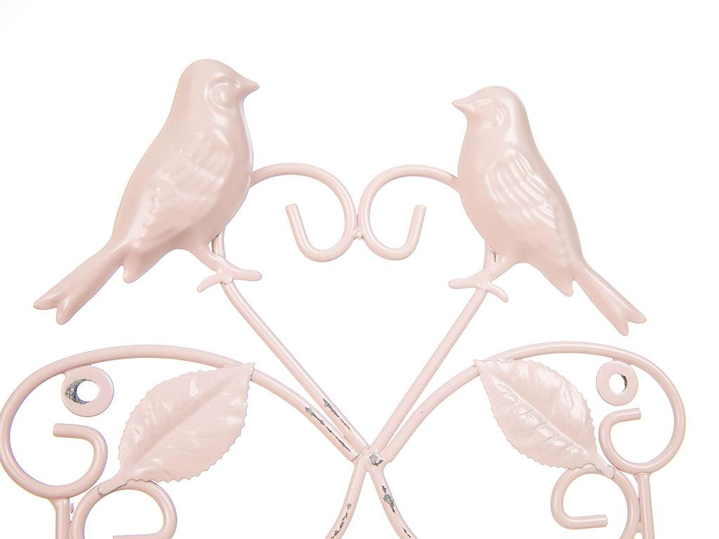 Love Birds Ferforje 2'li Askı 20x5,5x25,5 Cm Açık Pembe