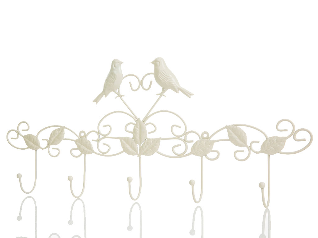 Love Birds Ferforje 5'li Askı 59x5,5x25,5 Cm Krem