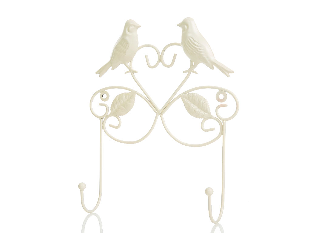 Love Birds Ferforje 2'li Askı 20x5,5x25,5 Cm Krem