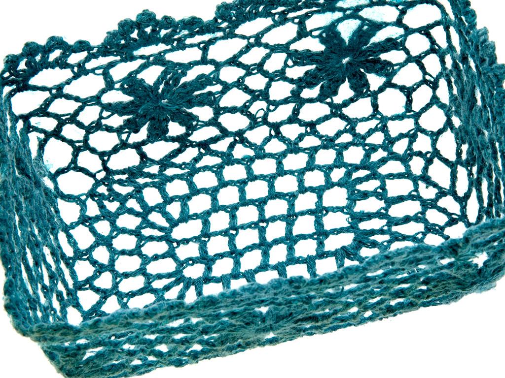 Daisy Garden Tığ İşi 17x11x7 Cm Petrol Mavisi