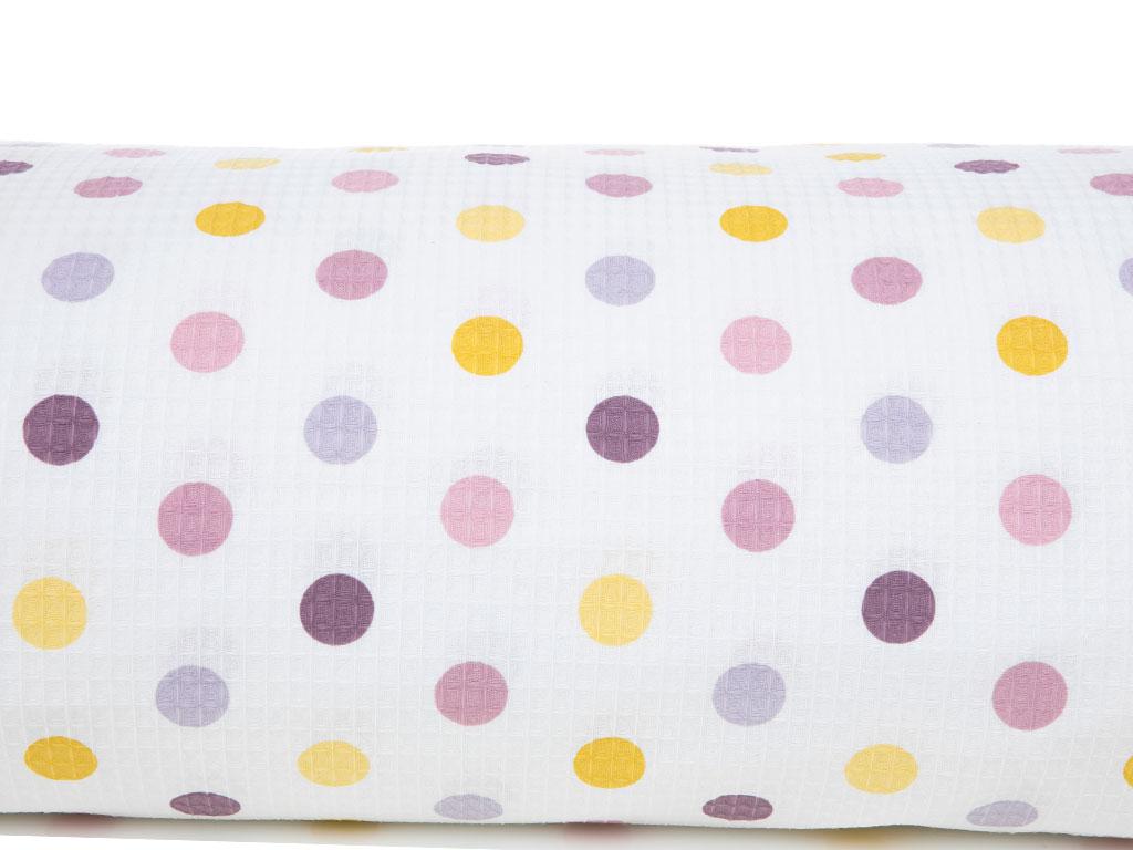 Polka Dot Baskılı Çift Kişilik Pıke 220x240 Cm Lila