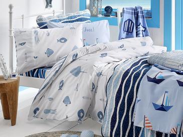 Sea Life Pamuklu Tek Kişilik Çocuk Nev Ve Yastk K 160x220 Cm Açık Mavi