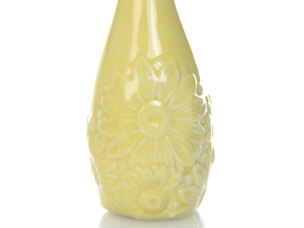 Carpe Diem Porselen Vazo 10x10x15,5 Cm Sarı