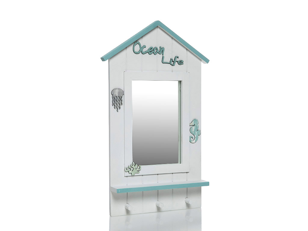 Ocean Ahşap Ayna 45x25 Cm Beyaz