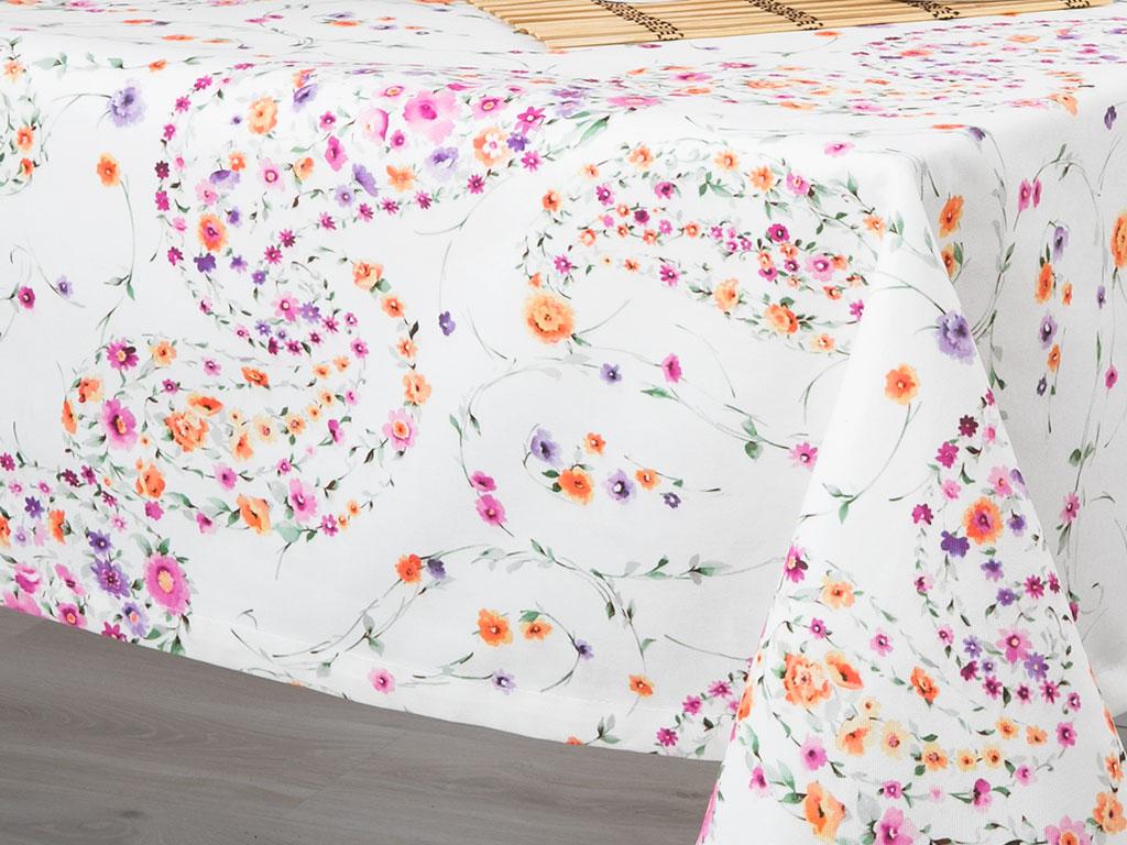 Paisley Rose Dijital Baskı Baskılı Masa Örtüsü 150x150 Cm Renkli