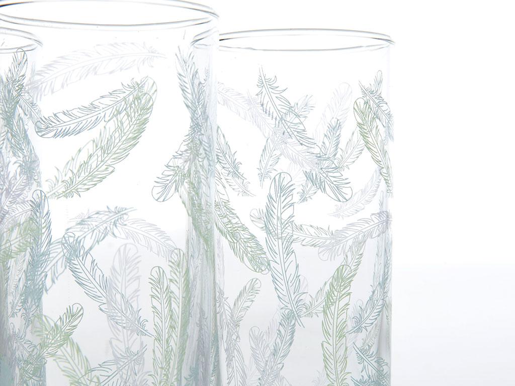 Desenli Cam 3'lü Meşrubat Bardağı 290 Ml Renkli