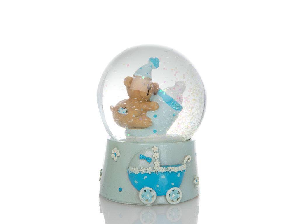 Teddy Bear Kar Küresı 6,5x6,5x9 Cm Mavi