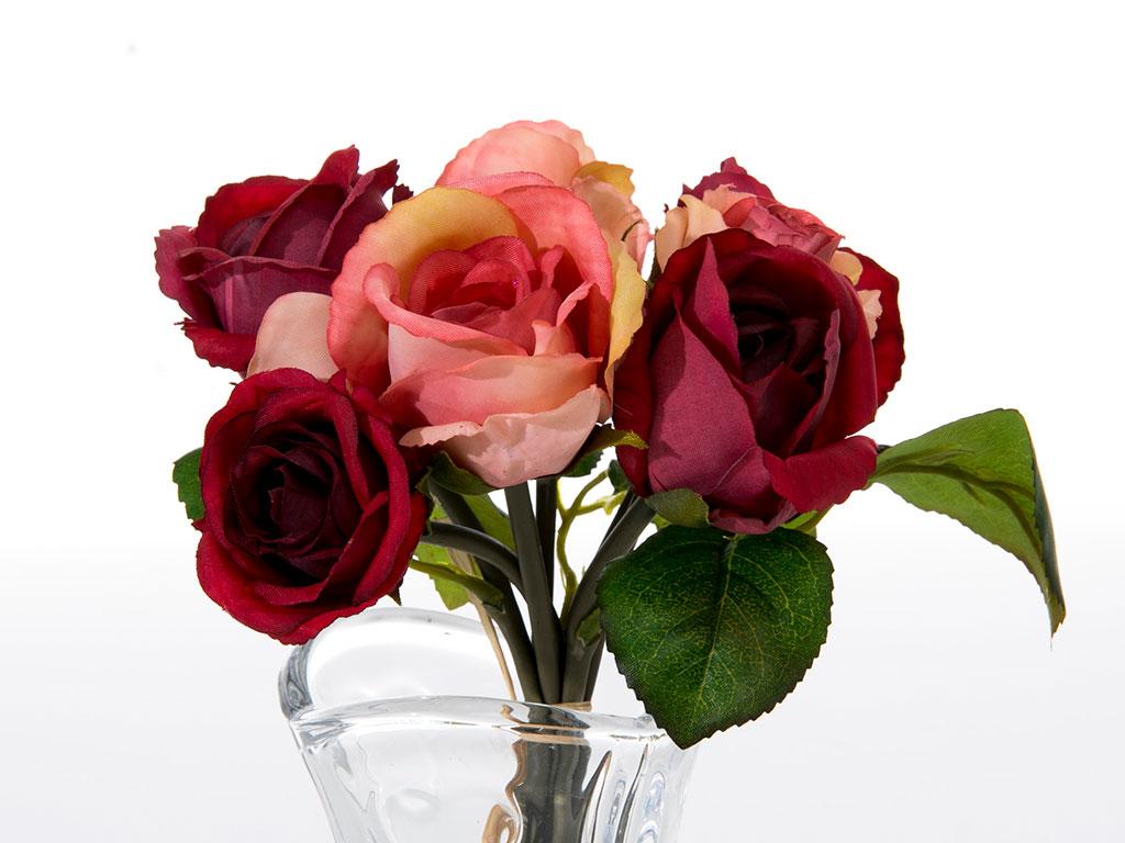 Glam Rose Yapay Çıçek 28 Cm Kırmızı-pembe