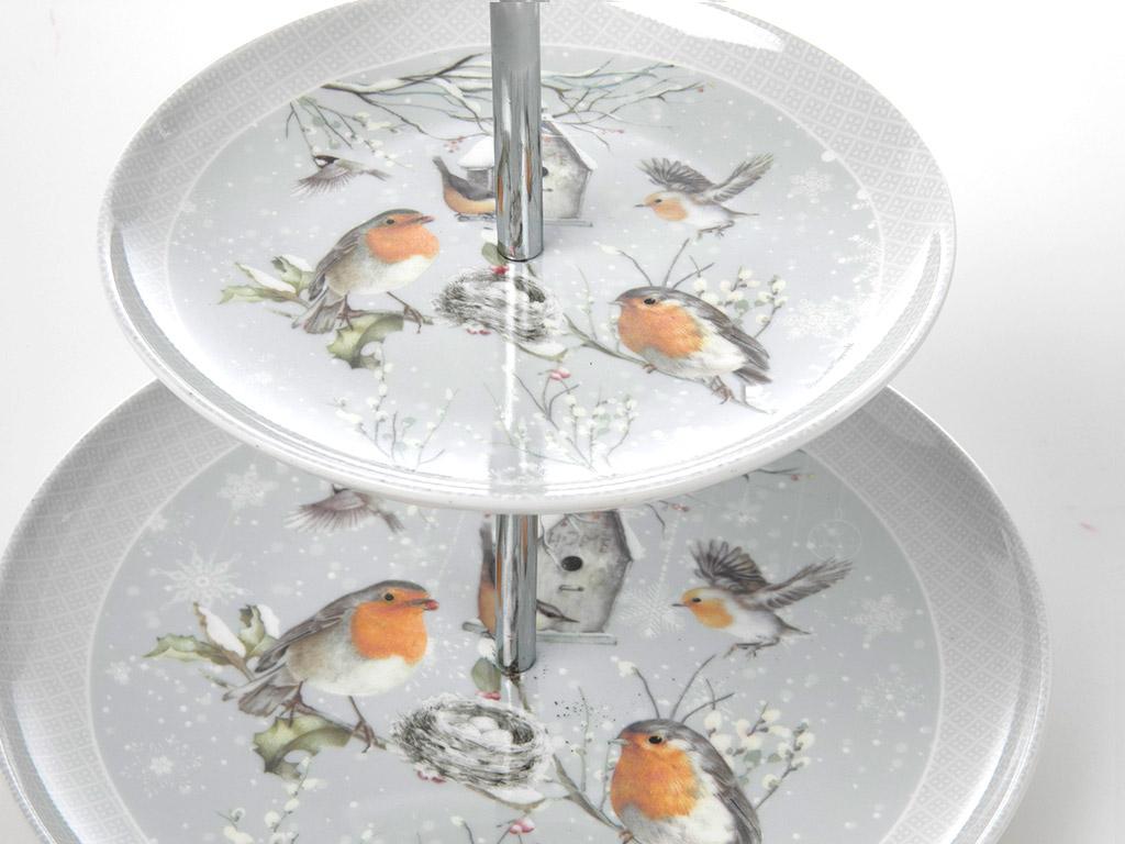 Bird Love Porselen Katlı Servıs 23,3x23,3x4,8 Cm Beyaz