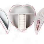 Hearts Pu Deri Simli Takı Kutusu 19,5x19,5x4,5 Cm Pembe