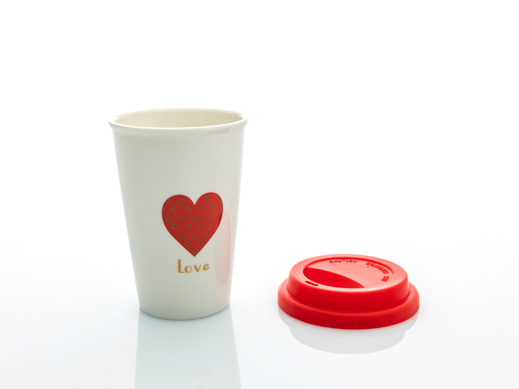 Heart Bone China Travel Mug 400 Ml Kırmızı