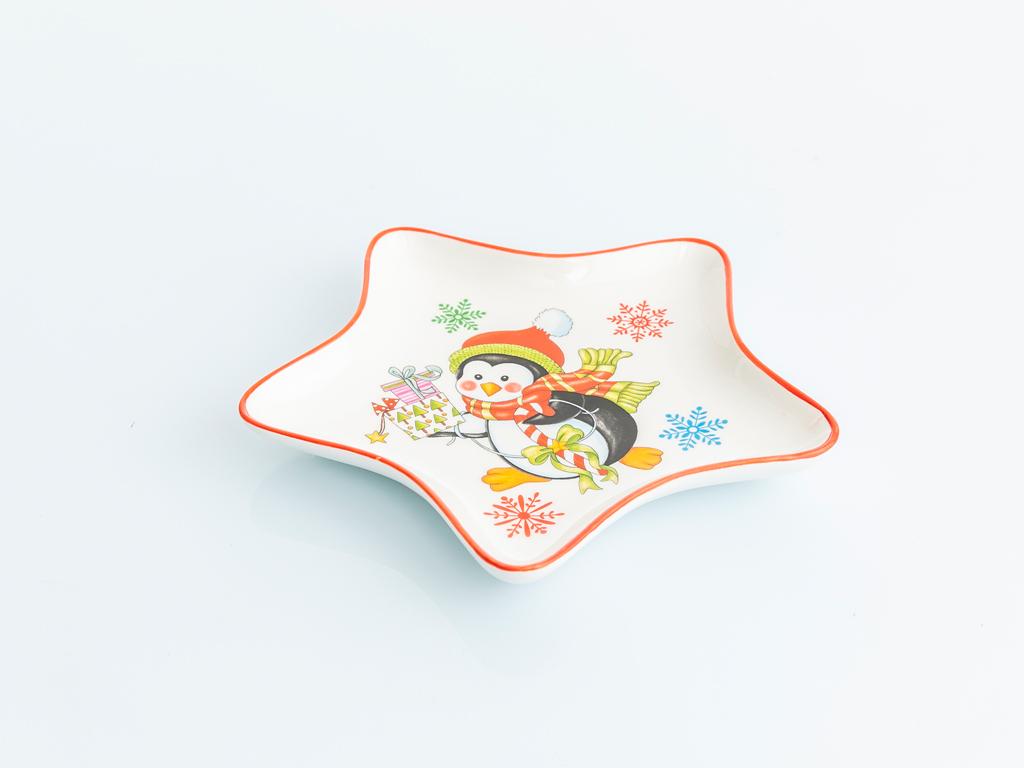 Penguin Bone China Servis Tabağı 17x17x2 Cm Kırmızı