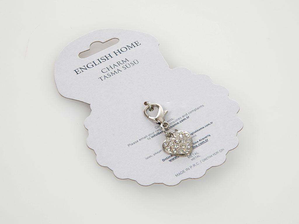 Charm Metal Tasma Süsü 2,5x2 Cm Gümüş