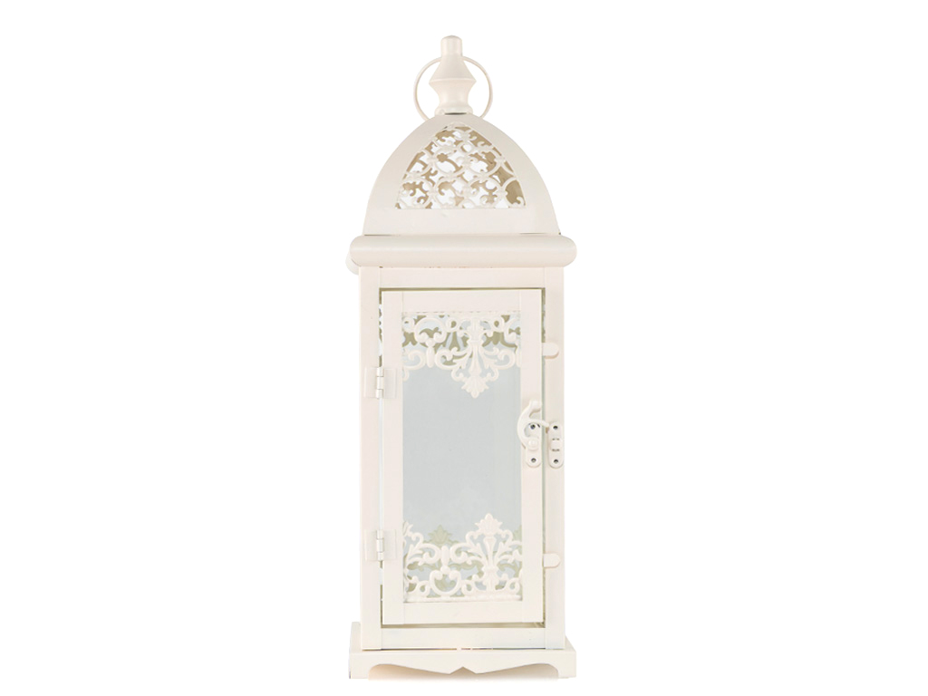 Elegance Ferforje Fener 13,5x13,5x40 Cm Beyaz