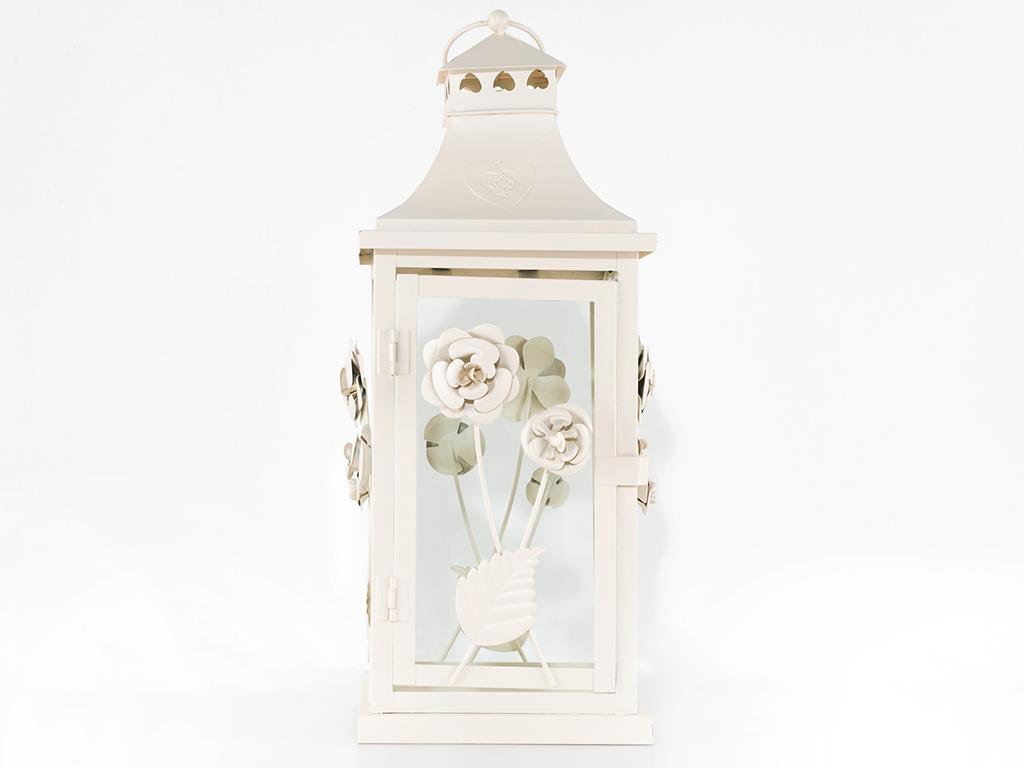 Majestic Rose Ferforje Fener 17,2x17,2x44,5 Cm Beyaz