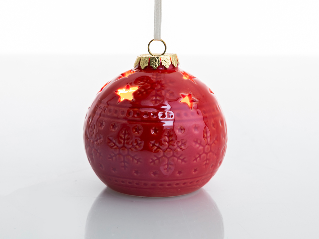 Jingle Stoneware Askılı Aksesuar 8x8x7,3 Cm Kırmızı