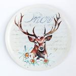 Snow Deer Metal Tablo 27,7x27,7x1,5 Cm Renkli