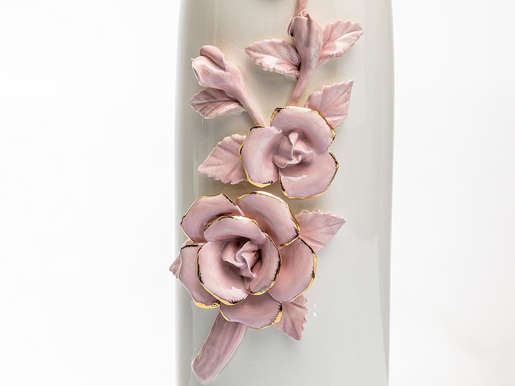 Precious Rose Stoneware Vazo 12,3x13,2x34,8 Cm Beyaz