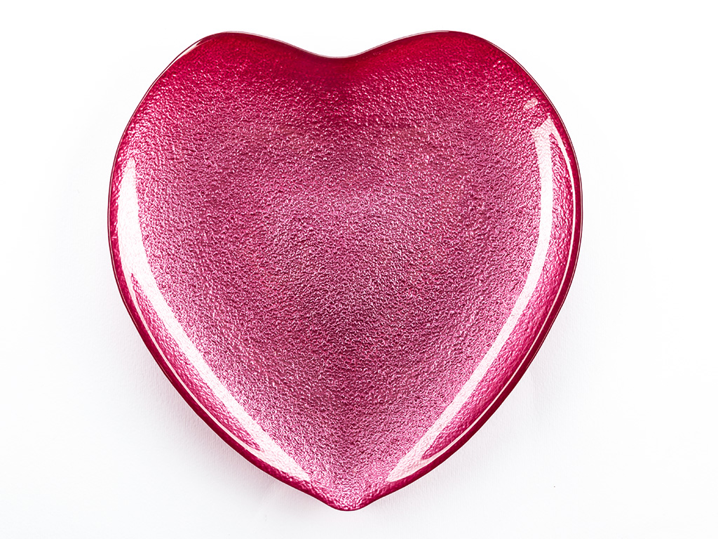 Heart Cam Servıs Tabağı 21 Cm Kırmızı