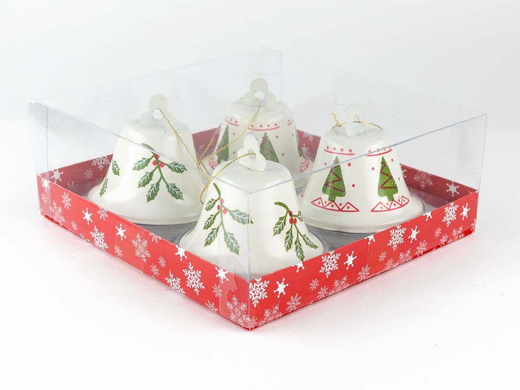 Jingle Bells Metal 4'lü Askılı Aksesuar 17,5x17,5x7,5 Cm Beyaz