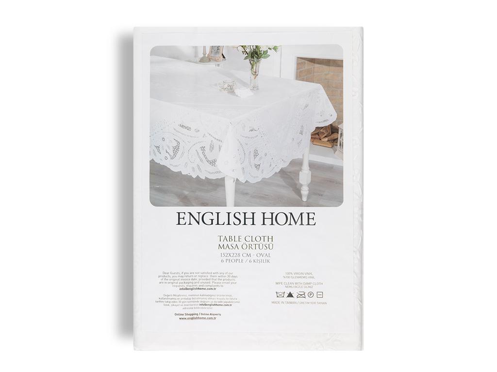 Glam Damask Vinil Masa Örtüsü 152x228 Cm Beyaz