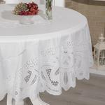 Glam Damask Vinil Yuvarlak Masa Örtüsü 178 Cm Beyaz