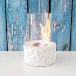 Stone Metal Sütun Masaüstü Şömıne 18x5x22 Cm Beyaz