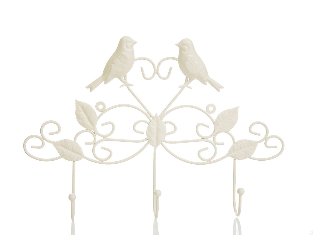 Love Birds Ferforje 3'lü Askı 38x5,5x25,5 Cm Krem