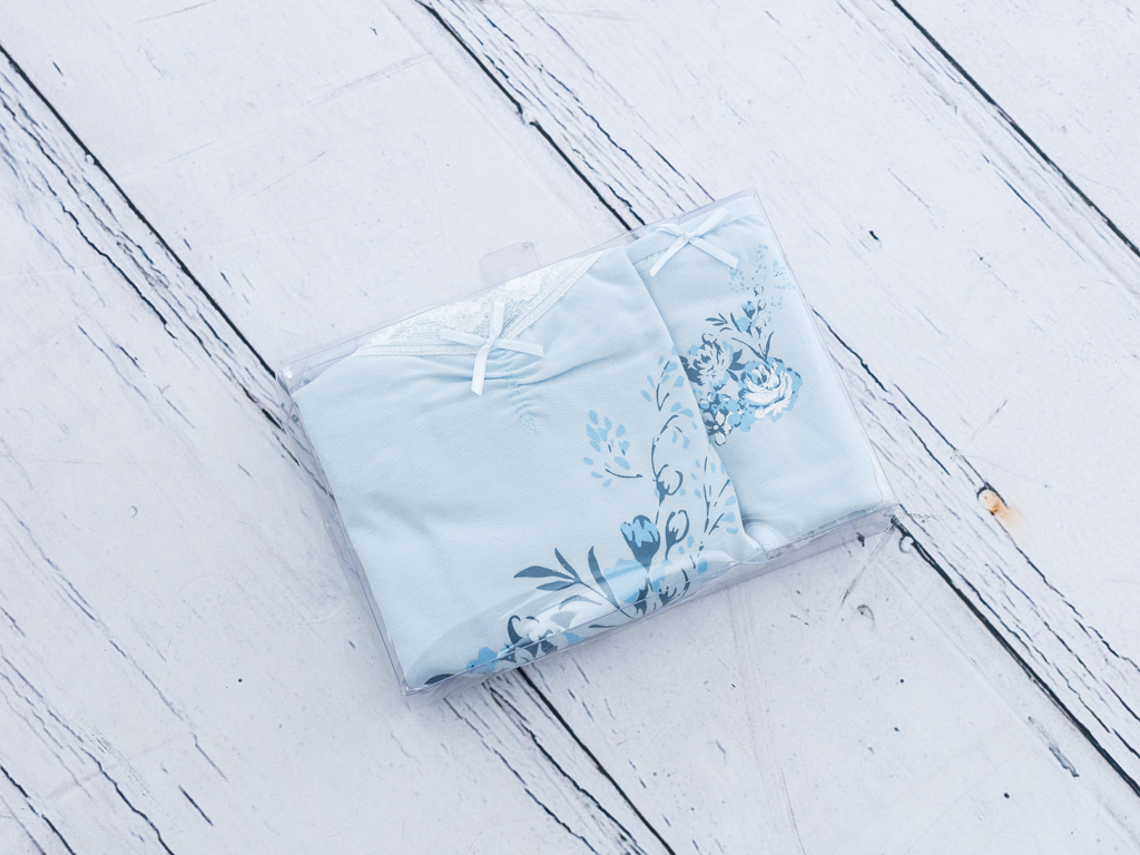 Roses Pamuklu Bayan İç Çamaşır Takımı L Mavi