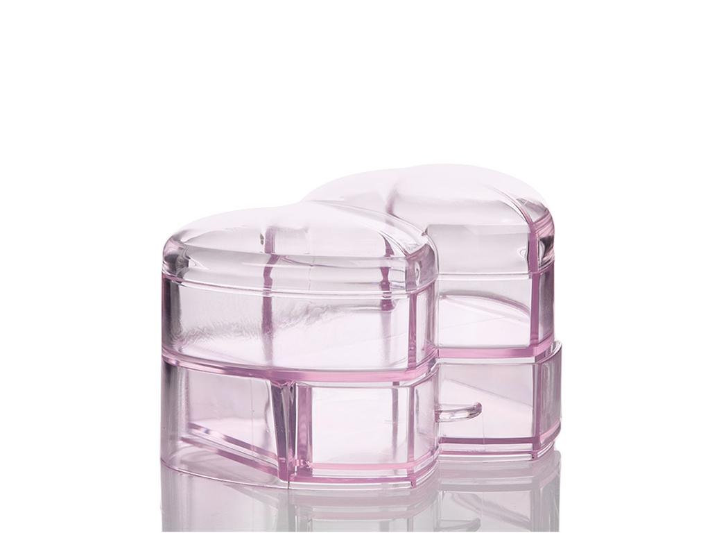 Shiny Akrilik Kalpli Mücevher Kutusu Makyaj Organızer 10,5x15,5x10 Cm Açık Pembe