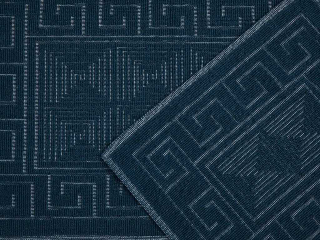 Greek Key Pamuklu Klozet Setı 60x90 + 50x60 Cm Lacivert