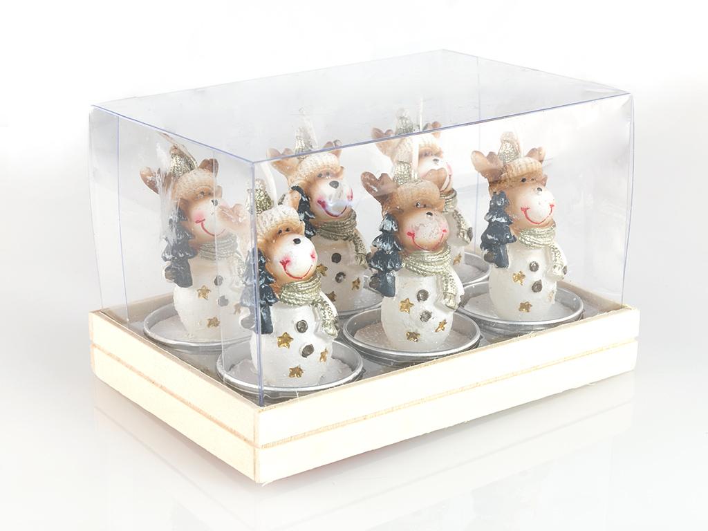 Reindeer 6'lı Mum 13,7x9x7,2 Cm Renkli