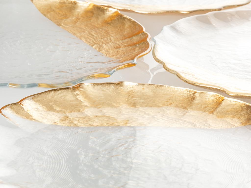Queen Cam Servis Tabağı 21 Cm Gold