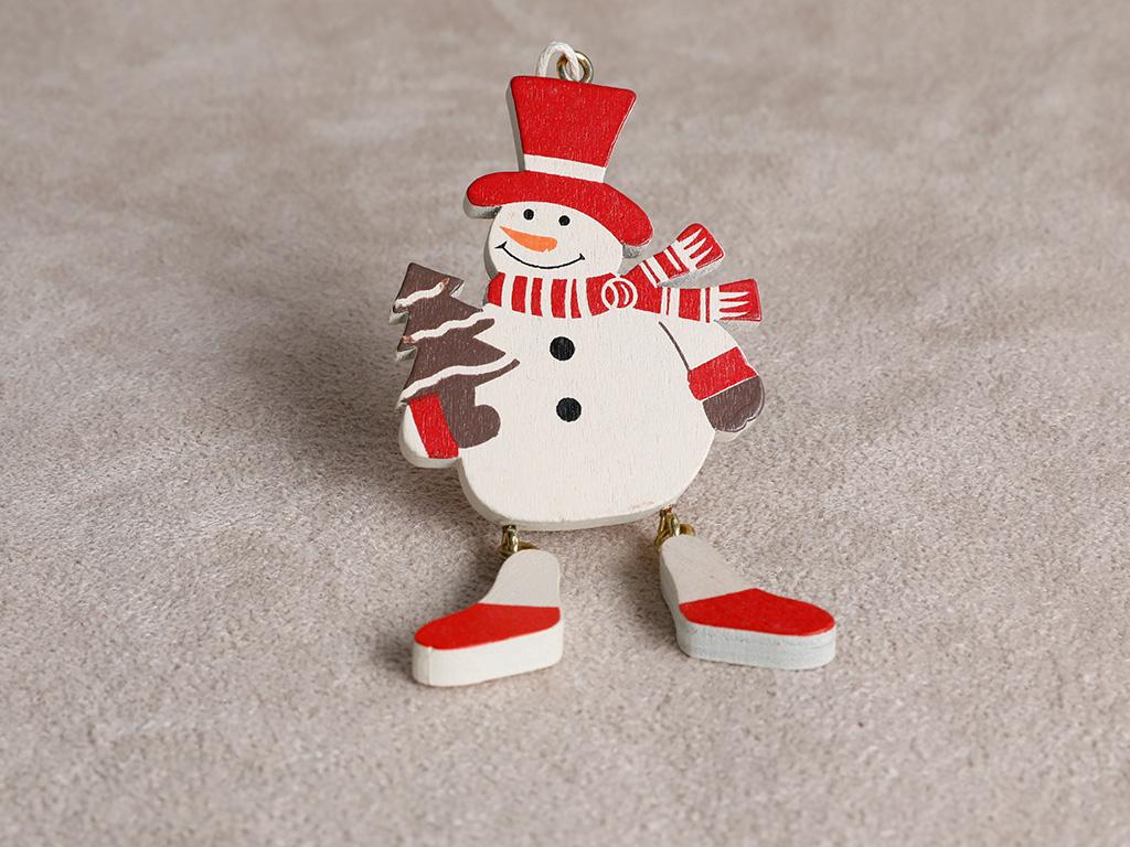 Snowman Ahşap Askılı Aksesuar 7x7,5 Cm Renkli