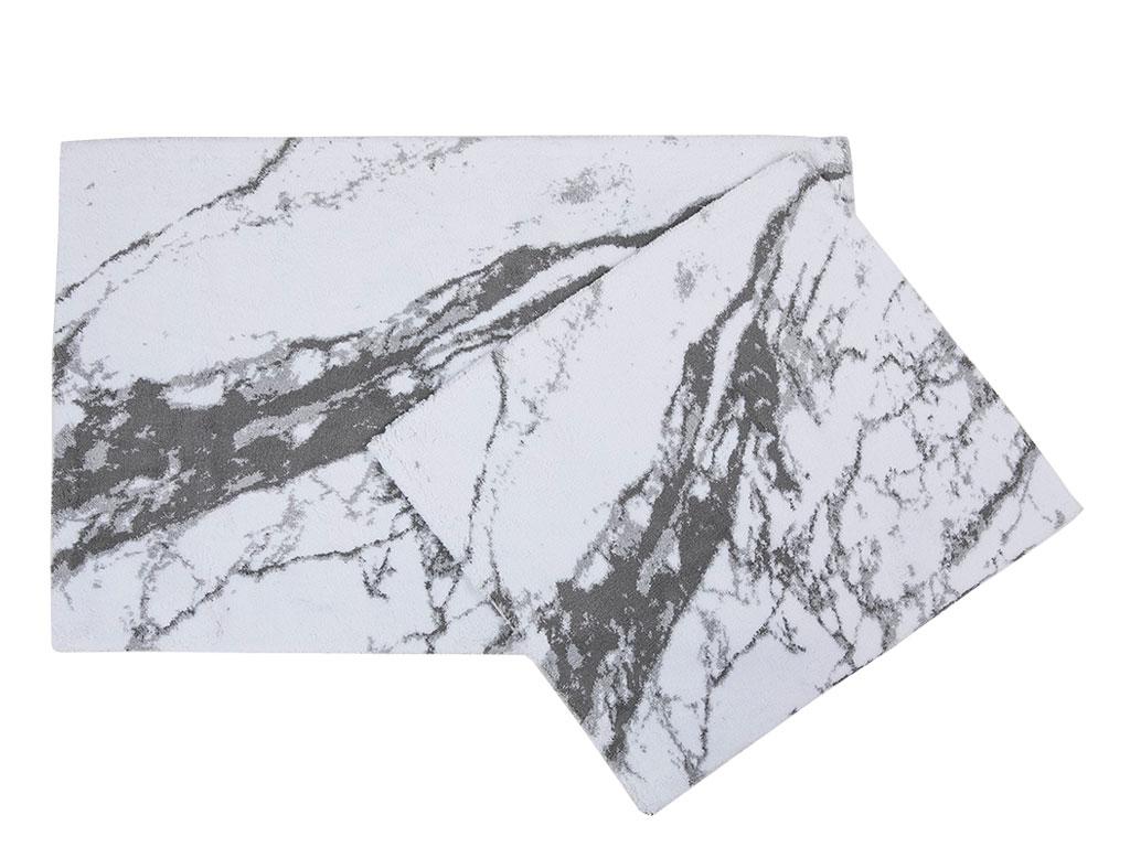 Marble Pamuklu Banyo Paspası Seti 60x90 Cm - 50x60 Cm Beyaz