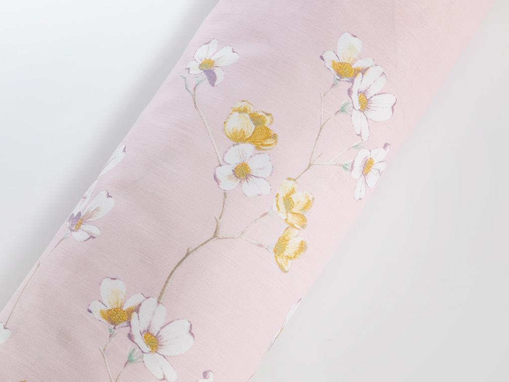 Pure Fleur Pamuk Saten Çift Kişilik Nevresim 200x220 Cm Pembe