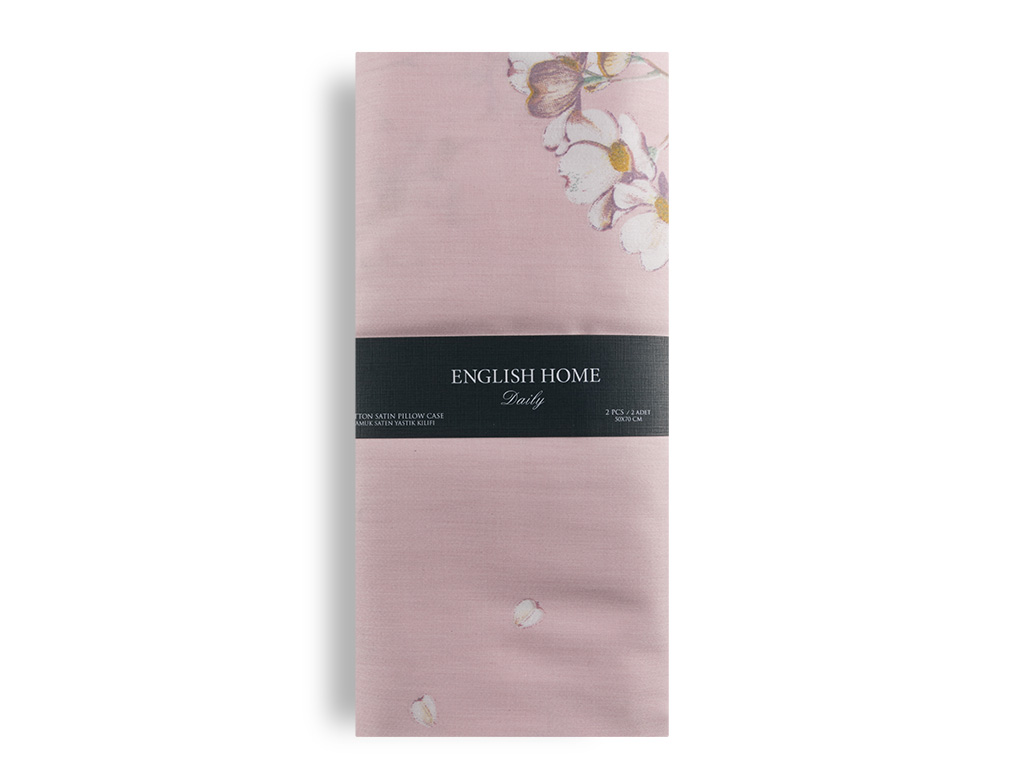Pure Fleur Pamuk Saten 2'li Yastık Kılıfı 50x70 Cm Pembe
