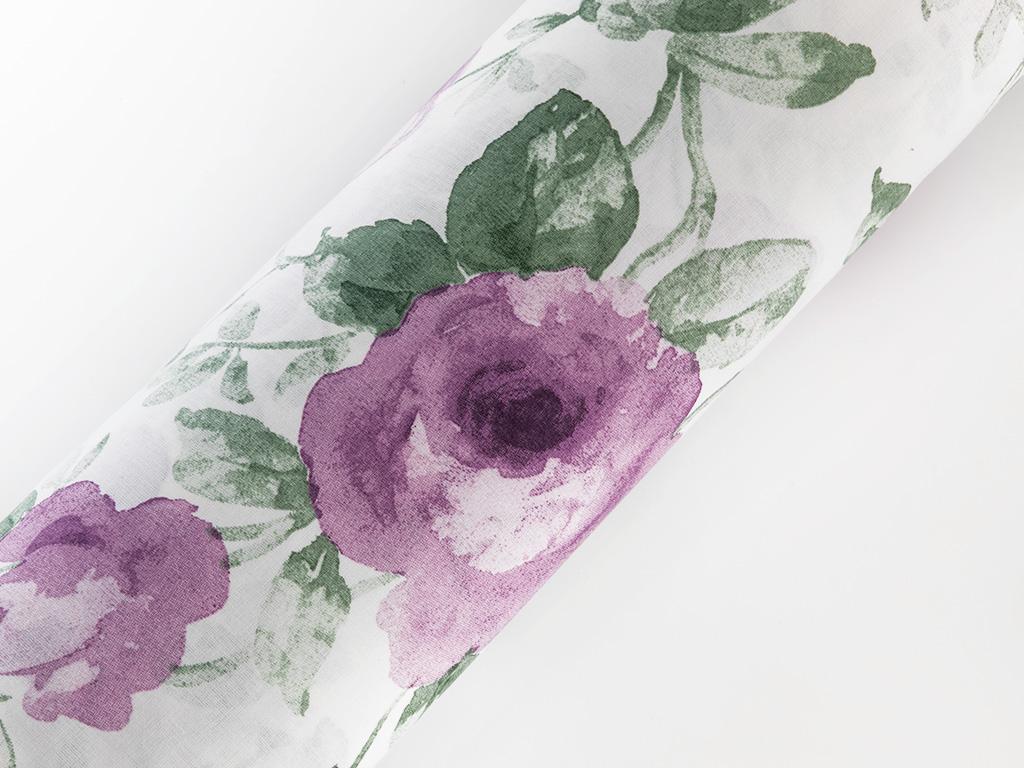 Rose Ivory Pamuklu Tek Kişilik Nevresım 160x220 Cm Mürdüm