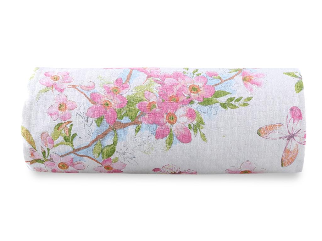 Sakura Garden Baskılı Çift Kişilik Pıke 200x220 Cm Pembe