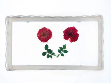 Antıque Rose Ferforje Küçük Tepsi 21,2x12x3,7 Cm Beyaz