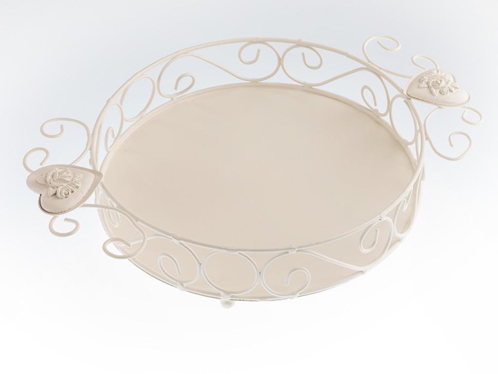 Rona Ferforje Büyük Tepsı 25x18x5 Cm Beyaz