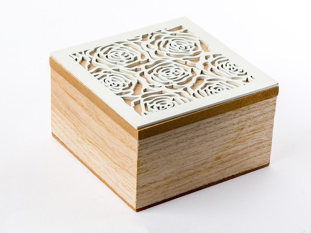 Rose Love Mdf Dekoratıf Kutu 12x12x7 Cm Beyaz