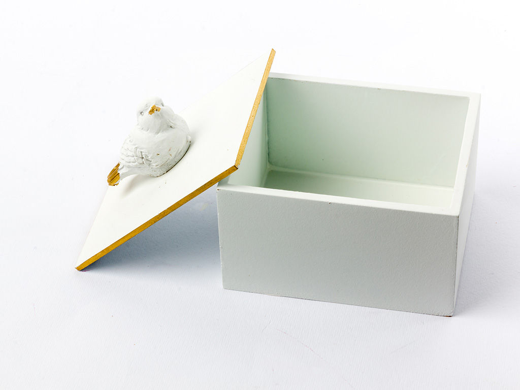 Birdy Mdf Dekoratıf Kutu 6x8x9,5 Cm Beyaz