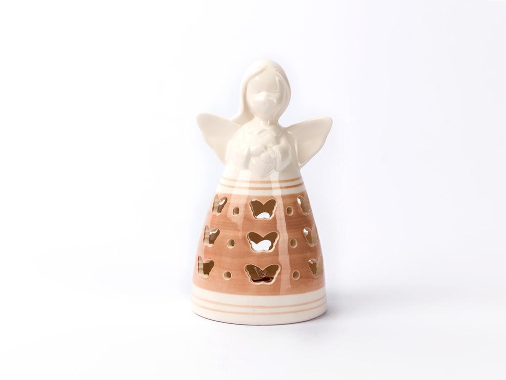 Kind Porselen Led Biblo 6,8x6,8x13,1 Cm Pembe