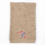 Sprig Birds Nakışlı Yüz Havlusu 50x80 Cm Koyu Bej